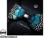 Vlinderdas van veren blauw