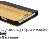 Samsung Galaxy S6 flip case Bamboe en leer