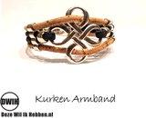 Kurken armband 50 naturel / bruin 4 baans, bloem_