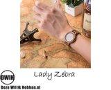 Houten horloge: Lady Zebra