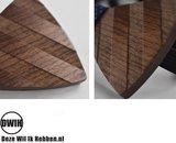 Walnoot strik met houten manchetknopen, Pochette en houten Reverse
