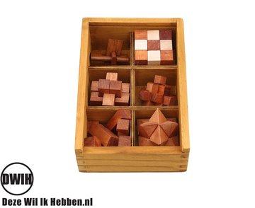 Set van 6 houten IQ puzzels - Breinbrekers