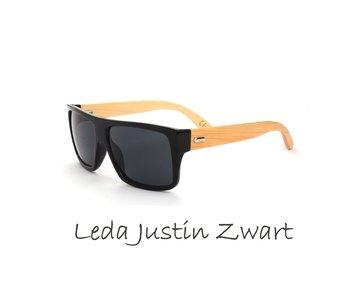 Houten zonnebril: Leda Justin Zwart