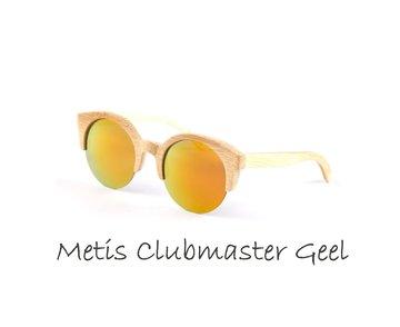 Houten zonnebril: Metis Clubmaster Geel