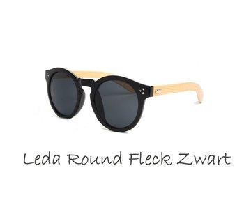 Houten zonnebril: Leda Round Fleck zwart