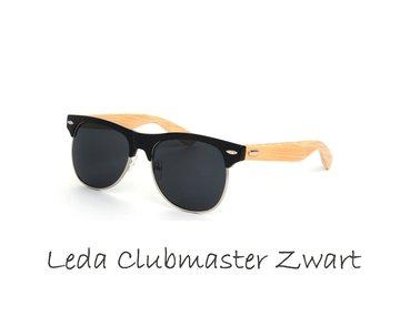 Houten zonnebril: Leda Clubmaster Zwart