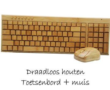 Draadloos Houten Toetsenbord en houten Muis