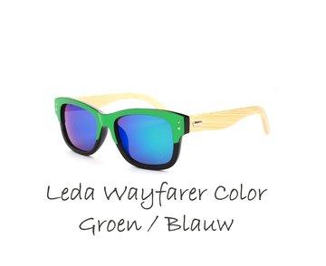Houten zonnebril: Leda Wayfarer Color Groen / Blauw
