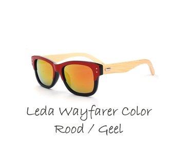 Houten zonnebril: Leda Wayfarer Color Rood / Geel