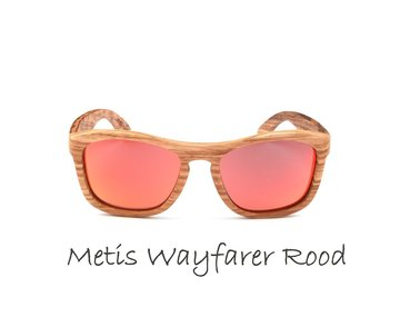 Houten zonnebril: Metis Wayfarer Rood