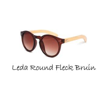 Houten zonnebril: Leda Round Fleck Bruin