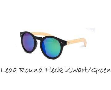 Houten zonnebril: Leda Round Fleck Zwart / Groen-Blauw