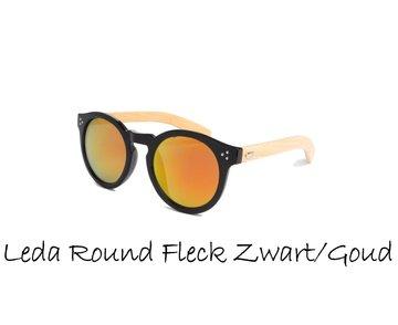 Houten zonnebril: Leda Round Fleck  Zwart / Goud-Rood