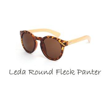 Houten zonnebril: Leda Round Fleck  Panter