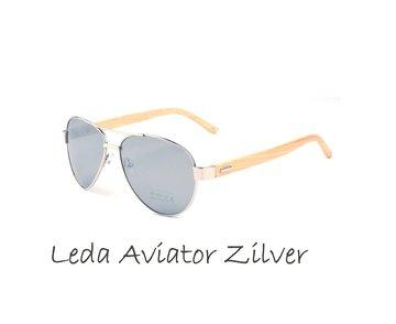 Houten zonnebril: Leda Aviator Zilver