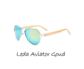 Houten zonnebril: Leda Aviator Goud