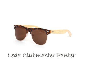 Houten zonnebril: Leda Clubmaster Panter