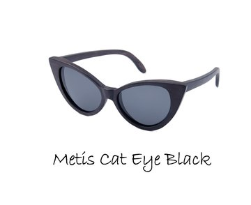 Houten zonnebril: Metis Cat Eye Black met gepolariseerde glazen