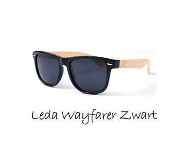 Houten zonnebril: Leda Wayfarer Zwart