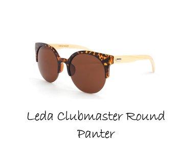 Houten zonnebril: Leda Clubmaster Round Panter