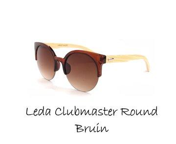 Houten zonnebril: Leda Clubmaster Round Bruin
