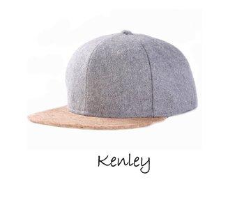 Kenley - Pet met klep van kurk, grijs