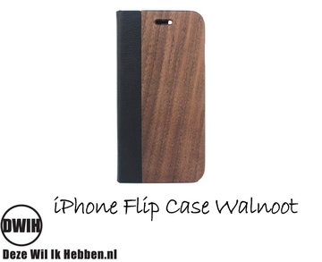 iPhone 6 plus Flip case – Walnoot en zwart Leer