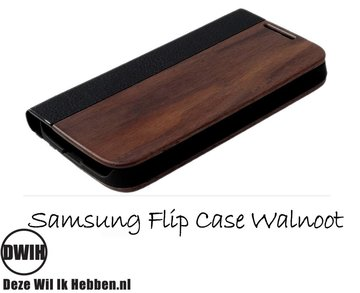 Samsung Galaxy S4 flip case Walnoot en leer