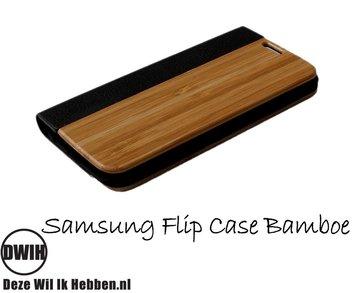 Samsung Galaxy S4 flip case Bamboe en leer