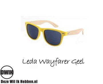 Houten zonnebril: Leda Wayfarer Geel