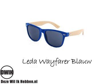 Houten zonnebril: Leda Wayfarer Blauw