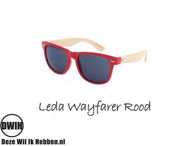 Houten zonnebril: Leda Wayfarer Rood