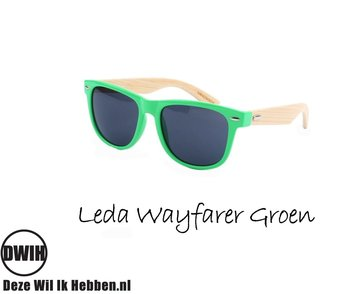 Houten zonnebril: Leda Wayfarer Groen