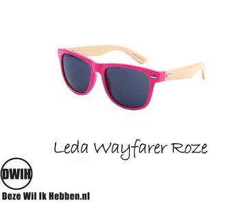 Houten zonnebril: Leda Wayfarer Roze