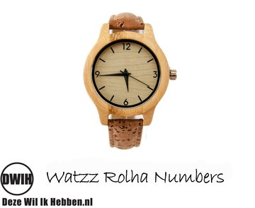 Houten horloge: WATZZ Rolha Numbers (WATZZ 08)