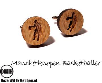 LaserWood manchetknopen Basketballer