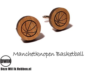LaserWood manchetknopen Basketball