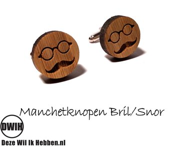 LaserWood manchetknopen Bril/Snor
