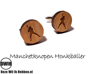 LaserWood manchetknopen Honkbal