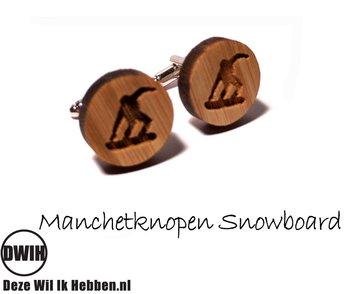 LaserWood manchetknopen Snowboard