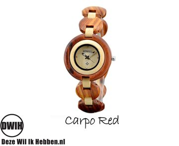 Houten horloge: Carpo Red