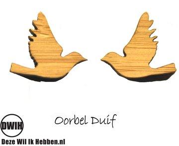LaserWood Oorbel Duif