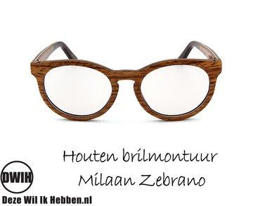 Houten brilmontuur - Milaan Zebrano