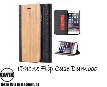 iPhone 7 plus Flip case – Bamboe en zwart Leer