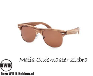 Houten zonnebril: Metis Clubmaster Zebra