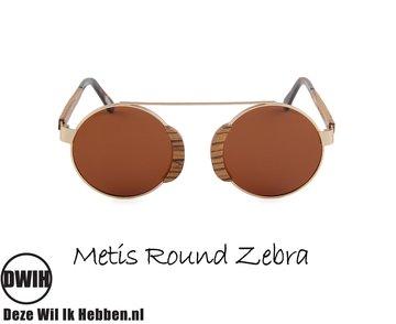 Houten zonnebril: Metis Round Zebra met gepolariseerde glazen