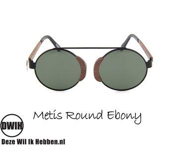 Houten zonnebril: Metis Round Ebony met gepolariseerde glazen