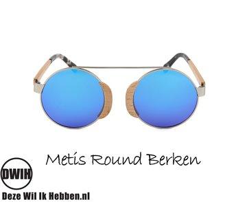 Houten zonnebril: Metis Round Berk met gepolariseerde spiegelglazen