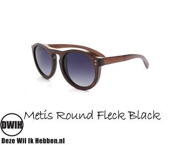 Houten zonnebril: Metis Round Fleck Black