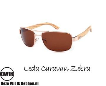 Houten zonnebril: Leda Caravan Zebra  met gepolariseerde glazen